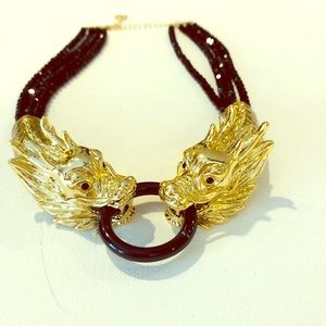 Jewelry - Gold and black dragon necklace